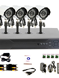 DIY CCTV System with 4 Waterproof Cameras for Home & Office