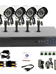 Sistema de CCTV DIY com 4 câmeras impermeáveis para Home & Office