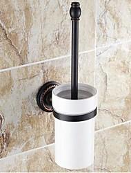 """Porte Brosse de Toilette Bronze Huilé Fixation Murale 390 x 83 x 66mm (15.35 x 3.26 x 2.59"""") Laiton / Céramique Traditionnel"""