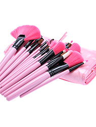 24Pcs Cosmetic Brush Tools with Pink Leatherette Pouch