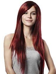 capless extra longa reta estrondo lado vermelho sintético peruca