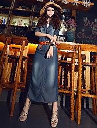 Thin de Z & G Mujer Washed Denim Vestido con cinturón