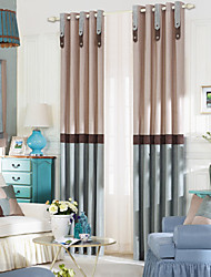 TWOPAGES® (Two Panels Grommet Top) Neoclassical Solid Stripe Energy Saving Curtain