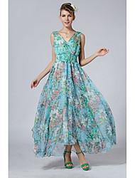 Vestido de las mujeres Nichols Elegante Slim Fit Volantes (pantalla a color)