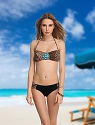 Mujeres VBM Leopard Diamond Crystal Bandeau bikini traje de baño más sexy Secret Natación Trajes de Biquini