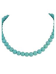 Collier surdimensionné JANE pierre bleue turquoise perlée Mode Chunky (2 couleurs)