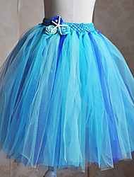 Kids' Dancewear Tutus Children's Training Tulle Flower(s) Sleeveless Natural XS:40cm S:47cm M:52cm L:57cm XL:65cm