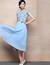 Feminina Slim Fit Chiffon manga curta em torno vestido longo
