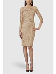Women's Dress,Solid Knee-length Long Sleeve Polyester All Seasons