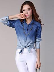 BADILI Frauen Korean Leger Gradient Langarm-Shirt (Screen Color)