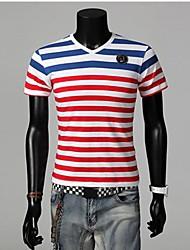 Casual V Collar T-shirt Stripe manga curta dos homens
