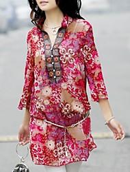 Cuello alto de las mujeres de la vendimia ultra delgado vestido de gasa (Correa)