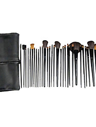 Pro 32 PC naturel de cheveux de chèvre pinceau de maquillage avec Black PU White Line poche