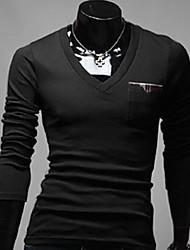 Profissão Preto V Neck bolso malha de algodão camisa do U2M2 Homens