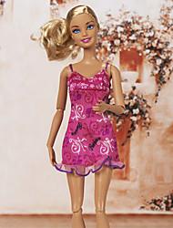 Barbie Doll Pink Lovely Letter Pattern Slim Casual Dress