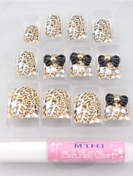 12PCS Multi Color Bow Leopard Print  Acrylic UV Gel False Nail Art Tips With Glue