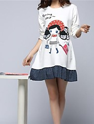 Maternity Clothing Pregnant Cute One-piece Dress White Girl Printing Round Neck T-shirt