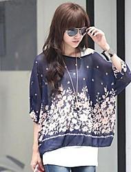 Women's Print Black/Blue Blouse/Shirt , Slash Neck ½ Length Sleeve