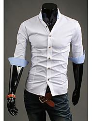 Homens HF cabido cor sólida camisa