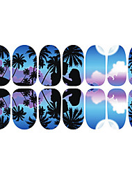 12PCS Romantic Blue Moonlight Luminous Nail Art Stickers