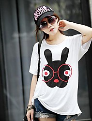 Women's  Print  Loose Big Yards Short Sleeve T-Shirt Modal Stretch  Glasses Rabbit T-Shirt