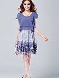 Além disso o vestido de tamanho, chiffon altura do joelho / mini-manga curta mulheres