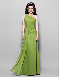 Prom / Formal Evening / Military Ball Dress - Elegant Plus Size / Petite Sheath / Column One Shoulder Floor-length Chiffon withCriss