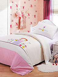 Huani® Duvet Cover Set, 2-Piece for Kids, 100% Cotton Contemporary Embroidery Print Little Garden
