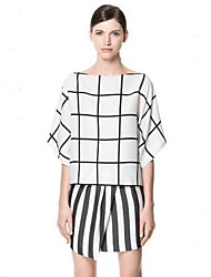 Women's Plaid White Shirt , Bateau ½ Length Sleeve