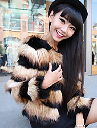 Long Sleeve Collarless Faux Fur Party/Casual Jacket (More Colors)