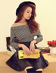 Women's Plaid Black/Multi-color/Red/White Blouse , Off Shoulder Long Sleeve Zipper