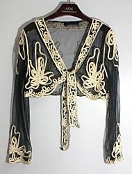 Women's Jacquard Beige/Pink Shirt , Deep V ¾ Sleeve Lace
