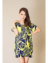 Rose Dress Stampa Drilling Hot Summer vestito largo a maniche corte (Sartoria casuale)