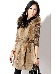 Fur Vest With Sleeveless Hooded Raccoon Fur And Rabbit Fur Party/Casual Vest
