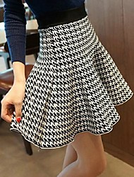 Mulheres de cintura alta Houndstooth Pattern Moda Saias