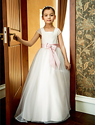 A-Line Ankle Length Flower Girl Dress - Organza Short Sleeves Square Neck with Bow(s) Lace Sash / Ribbon Pleats Ruffles by LAN TING BRIDE®