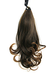 Dark Red Long Wavy Synthetic Ribbon Tied Ponytail Hair Extensions