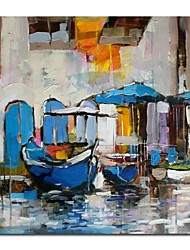 Hand Painted Oil Painting Landscape Knife Painted Venice Boat with Stretched Frame