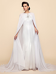 Wedding  Wraps / Hoods & Ponchos Capes Long Sleeve Chiffon / Lace White Wedding / Party/Evening