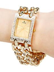 Diamante place analogique de femmes de cuir de cadran de quartz de bande de montre-bracelet analogique (couleurs assorties)
