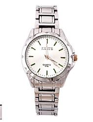 Personalized Gift Men's White Dial Stainless Steel Strap Analog Engraved Watch