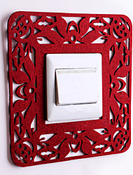 Paper Cut Square Red Light Switch Stickers