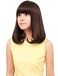 Fashion Capless Women Medium Curly Hair Synthetic Full Bang Wig 4 Colors Available