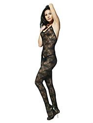 Black Mandarava Flower Print Nylon Women's Body-Stocking Sexy Uniform