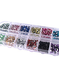 2500pcs 2mm Rund 12-in-1 Acrylrhinestone-Nagel-Kunst-Dekoration