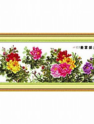MEIAN Six-foot Embroidered Peony Cross-stitch