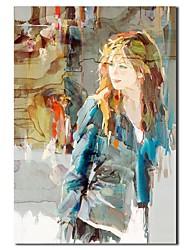 Pintura al óleo pintada a mano de la gente de la manera de la muchacha del arte pop con el marco de estirado