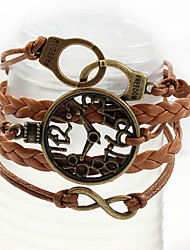 Qinuo Antique Leather Fashion Watch Manette Bracelet