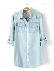 Mulheres Turn Down Collar Denim Shirts Plus Size Blusas com motivos florais