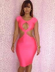 Neon Pink découpe Diamond Party Robe moulante pour femmes